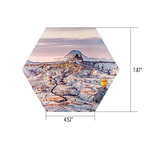 iPrint Hexagon Wall Sticker,Mural Decal,Winter,Cappadocia Turkey Landscape with Hot Air Balloons Anatolia Valley Geology Tourism,for Home Decor 4.52x7.87 10 Pcs/Set