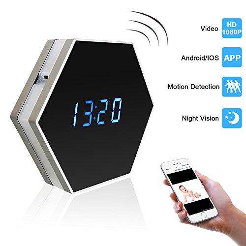 PELAY HD 1080P WIfi Alarm Clock Hidden Spy Camera Night Visi