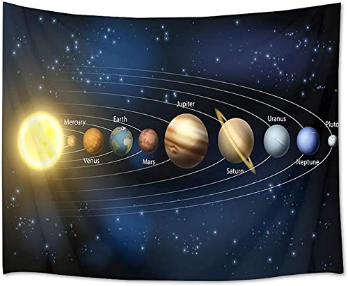 LB Universe Tapestry Planets and Stars in Solar System Wall Hanging Space Tapestries for Bedroom Living Room Dorm Party Wall Decor,92.5Wx70.9H inches
