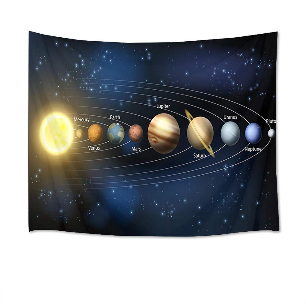 LB Outer Space Tapestry Univese Tapestry Wall Hanging Planets and Stars in Solar System Wall Blanket for Bedroom Living Room Dorm Decor,60 W X 40 H INCH