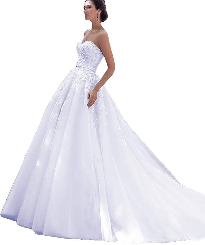 LuckyShe Damen Lang A Linie Brautkleid Prinzessin Hochzeitskleider mit Schleppe