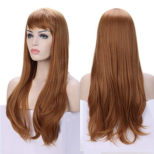 Natural Full Wigs with Bangs for Black Women Straight Curly Kinky Body Wave 100% Kanekalon Fiber Heat Resistant for Daily Use Cosplay Christmas Party Anime Costume (Auburn -