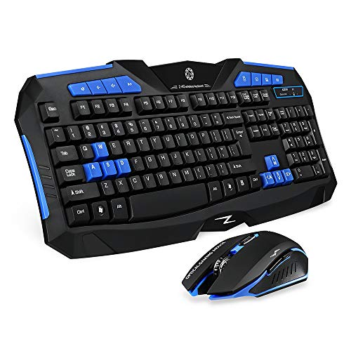 Picktech F1 Wireless Keyboard Mouse Combo, 2.4GHz Full Size Waterproof Keyboard and Optical Wireless Gaming Mouse Set Compatible with PC, Laptop, Notebook, Desktop, Computer (Blue)