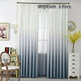 TIYANA Window Treatment Gradient Gray Curtains with Pleats and Hooks 84 inch Long for Living Room White and Grey Cloth Fabric Curtain Drape, Hooks Top, W75 x H84 inch, 1 Piece For Sale