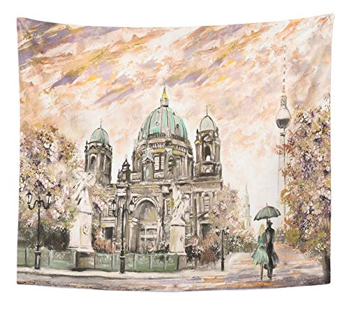 Emvency Tapestry Artwork Wall Hanging Oil Painting on Canvas Street View of Berlin European Landscape in Sepia Green 50x60 Inches Tapestries Mattress Tablecloth Curtain Home Decor Print]()