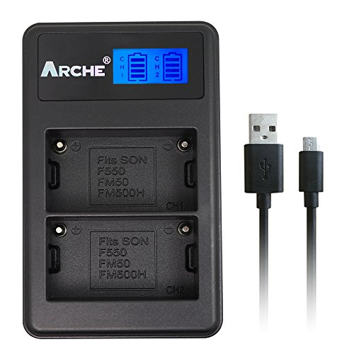 ARCHE NP-FM50 LCD Dual USB Charger for [Sony NP-FM30 NP-FM50 NP-FM51 NP-QM51 NP-FM55H and CCD-TR DCR-PC DCR-TRV DCR-DVD DSR-PDX GV HVL Series Camcorder (serch the model in description)] by ARCHE