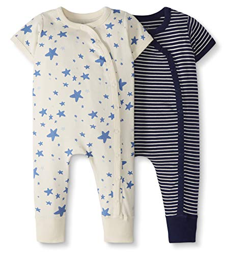 Moon and Back by Hanna Andersson Baby 2-Pack One-Piece Organic Cotton Short Sleeve Romper, Navy, Newborn