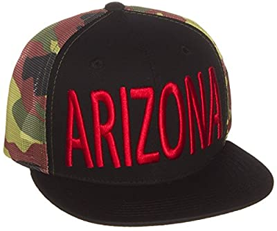 American Cities US Cities Trucker Hat Block Letters Flat Visor Snapback Hat Cap