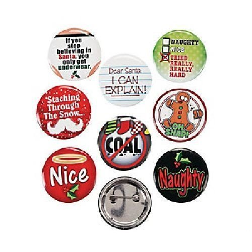 "24 (2 Dozen) ~ Funny Christmas Sayings Button Pins ~ Approx. 1.25"" / Metal ~ New"