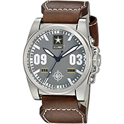 U.S. Army Wrist Armor Men's 'C1' Swiss Quartz Stainless Steel and Leather Watch, Color:Brown (Model: 37WA0212L01A)