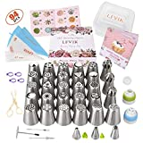 Russian Piping Tips Set 94 Pcs - Cake Decorating Supplies Baking Supplies with 29 Icing Flower Frosting Tips 3 Ball Piping Tips 47 Thickened Pastry Bags Cupcake Decoration Tips