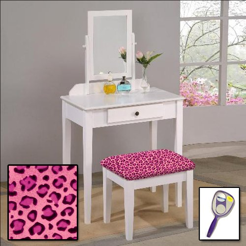 The Furniture Cove New White Finish Make Up Vanity Table with Mirror & Themed Bench (Pink Cheetah Jaguar Animal Print (Mirrored Set Bench)