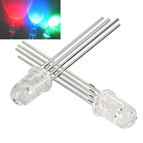 100pcs 5mm 4 pin RGB LED Common Anode Red Green Blue - 6