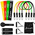 StrongFitt - Multi Resistance Bands Set - Heavy Exercise Bands - Enjoyable Fitness Bands - Workout Bands - Rehab Bands - with Door Anchor - Handles - Ankle Strap - Resistance Loop Bands