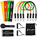 StrongFitt - Multi Resistance Bands Set - Heavy Exercise Bands - Enjoyable Fitness Bands - Workout Bands - Rehab Bands - with Door Anchor - Handles - Ankle Strap - Resistance Loop Bands for Gymnastics