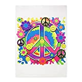 5' x 7' Area Rug Neon Smiley Face Floral Peace Symbol