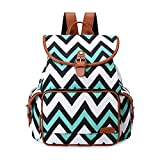 ECOSUSI Backpack Cute School College Casual Daypack Canvas Bookbag for Teens Girls, Green