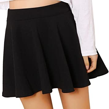 a49f07faa36 Women Skirt Daoroka Sexy Plus Size Vintage Pleated Elastic Stretchy Waist Flared  Versatile Mini Skater Skirt