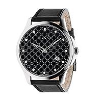 Gucci G-Timeless Black Monogram Dial SS Leather Quartz Ladies Watch YA126305