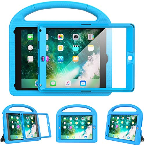 eTopxizu Kids Case for New iPad 9.7 2018/2017 with Built-in Screen Protector, Light Weight Shock Proof Handle Stand Kids Case for iPad 9.7 2017/2018 iPad Air/iPad Air 2/iPad Pro 9.7 - Blue - New Rubber Cover Case