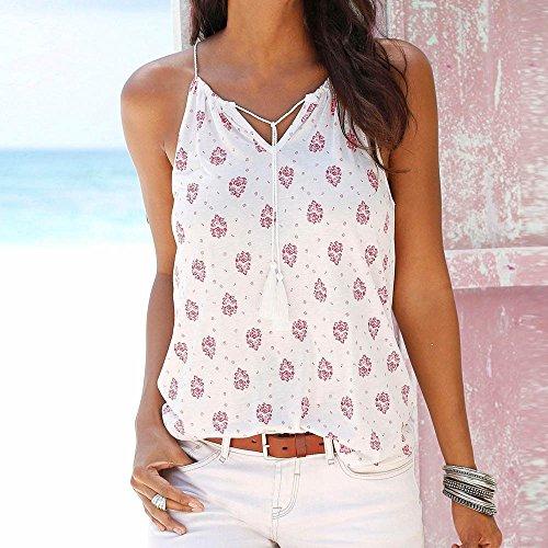 SKY Especially !!Mujer DeSling V-cuello de la camiseta de impresión ocasional camisa de la playa camiseta Blanco Blanco