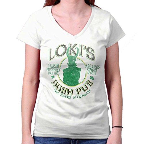 Villains Irish Pub Funny Comic Book Nerd Junior Fit V-Neck T Shirt White -