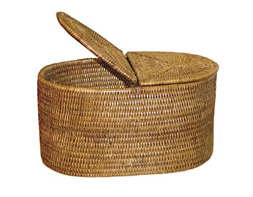 "picture of Artifacts Trading Company Rattan Oval Double Tissue Roll Box, 13"" L x 8"" W x 7"" H"