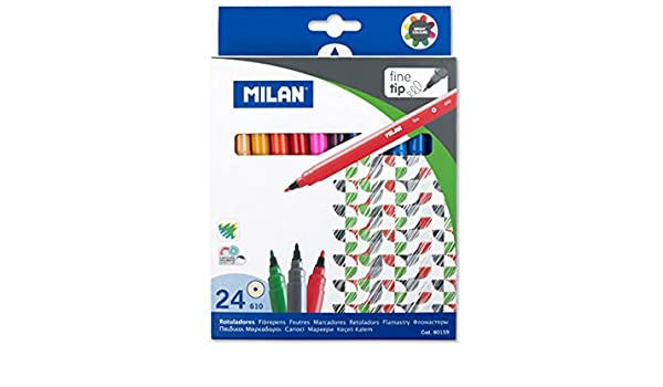 Amazon.com: ESTUCHE 24 ROTULADORES COLORES PUNTA FINA 610 MILAN ...