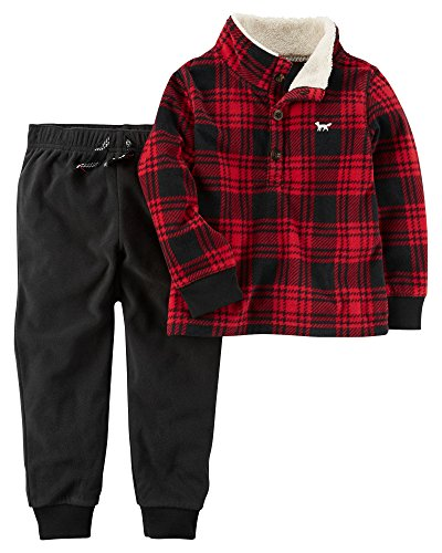 Carters Boys Piece 2 (Carter's Boys' 3M-4T 2 Piece Long Sleeve Top And Pants Set 4T Black/Red)