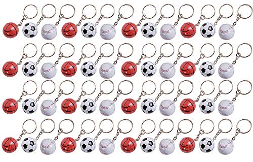 "Key Ring Boy (3.5"" Sports Ball Keychain - 48 Pack Mini Backpack Hook for Olympic Fans - Keyring for Bag and Belt Loop Accessory, Back to School Item, Arts & Crafts, Educational Tool, Party Favors)"