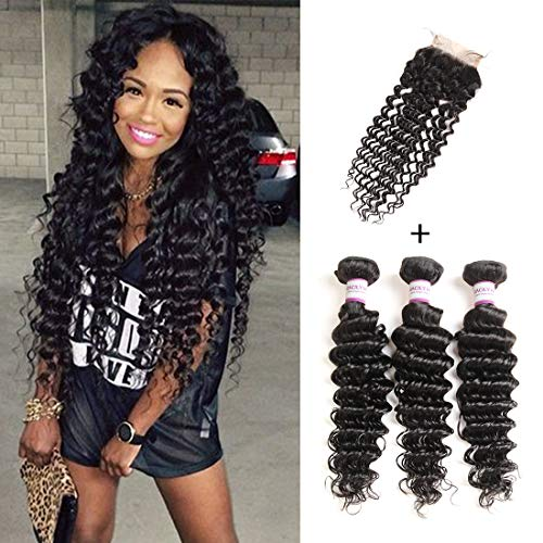 RACILY 10A Grade Brazilian Deep Wave Hair 3 Bundles with Closure, 4x4 Inch Free Part Lace Closure & Sew in Human Extensions, 100% Unprocessed Remy Hair Weave Bundles (10