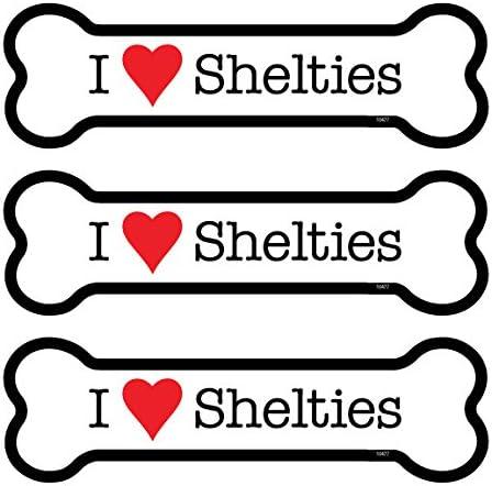 SJT25477 Shelties 3-PACK of 2 x 7 Bone Shaped Car Magnets