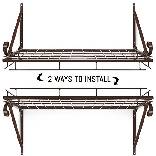 Sorbus Pots and Pan Rack — Decorative Wall Mounted Storage Hanging Rack — Multipurpose Wrought-Iron shelf Organizer for Kitchen Cookware, Utensils, Pans, Books, Bathroom (Wall Rack - Bronze) by Sorbus (Image #3)
