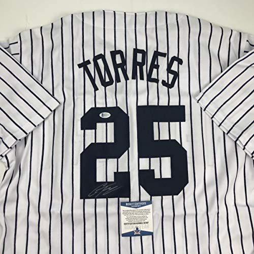 Autographed/Signed Gleyber Torres New York Pinstripe Baseball Jersey Beckett BAS COA