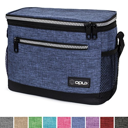 OPUX Premium Insulated Lunch Bag with Shoulder Strap | Lunch Box for Men, Women, Kids | Soft Leak Proof Liner | Medium Lunch Cooler for Office, School | Fits 6 Cans (Heather Navy)