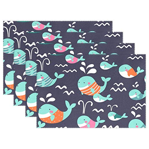 Promini Cute Pattern Funny Whale Placemats Vintage Flower Table Mats Non-Slip Washable Heat Resistant Place Mats for Kitchen Dining Decor Tray Mat Set of 4