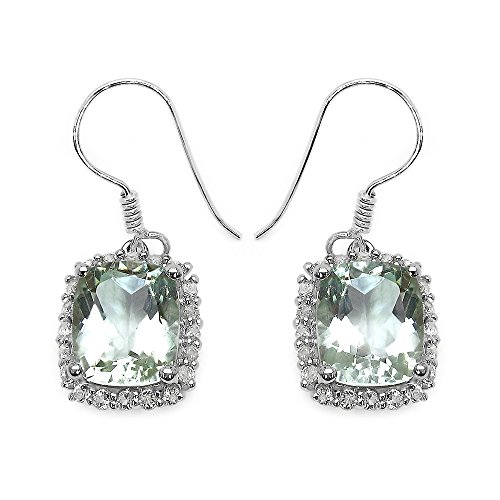 Johareez Green Amethyst & White Topaz Sterling Silver Drop Earrings