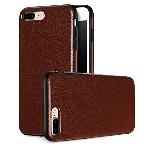 iPhone7 plus Schutzhülle Cover ALYEE Weiches Silikonhülle TPU Handyhülle und PU Leder Case [5,5 Zoll] 7plus Handy Hülle für iPhone 7 plus Handytasche (Braun)