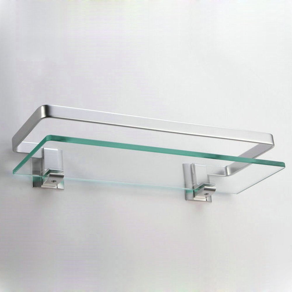Bathroom Shelf Amazoncom Kes Aluminum Bathroom Glass Rectangular Shelf Wall