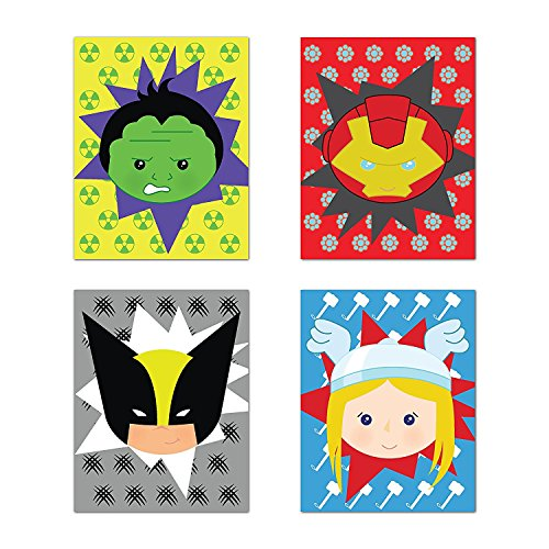 Superheros Decor, Baby Boy Nursery Decor, Iron Man, Hulk, Thor, Wolverine, Superhero Wall Art, Set of Four 08x10 Inch Print -