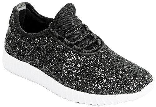 JKNY Kids Girls Fashion Metallic Sequins Glitter Lace up Light Weight Stylish Sneaker Shoes Black Size 7 ()