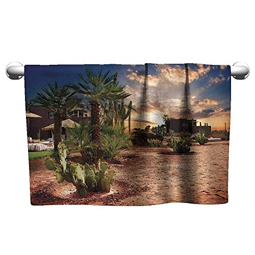 xixiBO Dry Towel at The Beach W10 x L10 Desert,Majestic Sky View Palm Trees and Cactus in Oasis Morocco Tropic Nature,Blue Green Light Brown Oversized Bath Towel (Desert Bowling Palm)