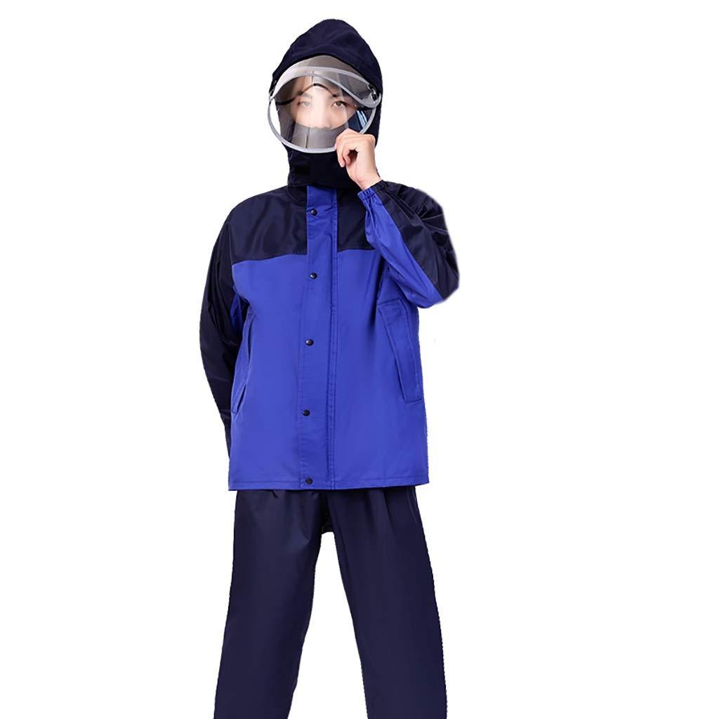 A Medium Hyuyi VêteHommest imperméable épaississant Fente du Corps chevauchant Veste imperméable Double Poncho Fendu Anti-Pluie (Couleur   B, Taille   M)
