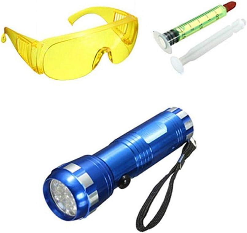 Kit De Detección UV Para Automóviles, Tinte UV Pro A / C Pro Certificado, Aire Acondicionado Automotriz Herramienta De Detección De Fugas Fluorescente, Con Lentes UV, Aceite Fluorescente Y Linterna