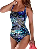Upopby Women's Vintage Tummy Control One Piece Swimsuits Monokini Printed Plus Size Swimwear Bathing Suits Blue Floral 6