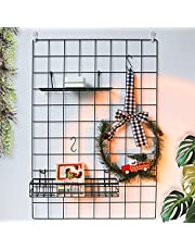 BULYZER Grid Wire Panel Board,Wall Picture Decoration for Room Clip Photo Holder Photograph Mat Hanging Art Display Frames Desk Storage Organizer,25.6'' x 17.7''(2Pack)