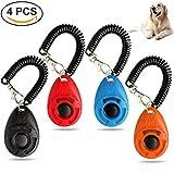 OWNPETS Dog Training Clicker Wrist Strap - Pet Training Clicker Set 4 Packs (Black,Blue,Orange,Red)
