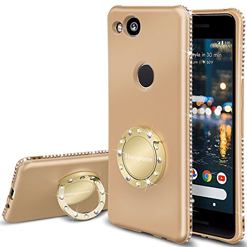 Google Pixel 2 Case, Glitter Girly Phone Cover with Stand Kickstand Ring Holder Slim Luxury Diamond Bling Sparkle Protective Pixel 2 Case for Women Girls - Gold