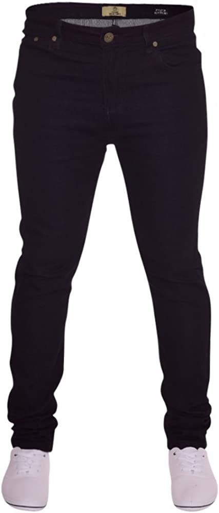 Black Island Trading Mens Skinny Stretch Slim Fit Stretchable Denim Jeans Cotton Trousers Blue Light Dark Blue