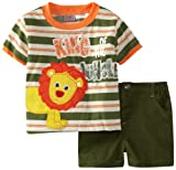 Little Rebels Baby-Boys Infant 2 Piece King Of The Jungle Short Set, Dark Orange, 18 Months image